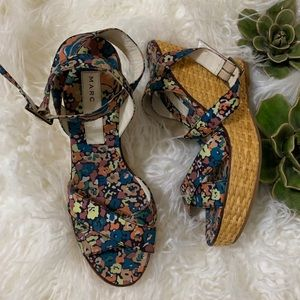 Marc Jacobs Floral Wrap Ankle Straw Woven Wedge 8